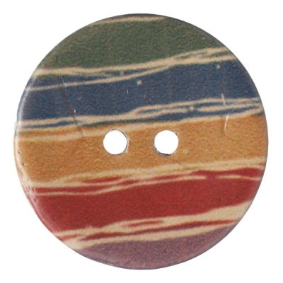 Round Coconut Shell Button - Irregular Rainbow Stripe - 23mm / 36L