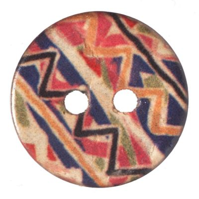 Round Coconut Shell Button - Irregular Chevron Stripe - 18mm / 28L