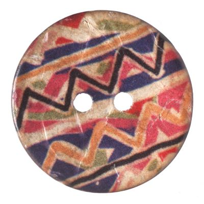 Round Coconut Shell Button - Irregular Chevron Stripe - 23mm / 36L