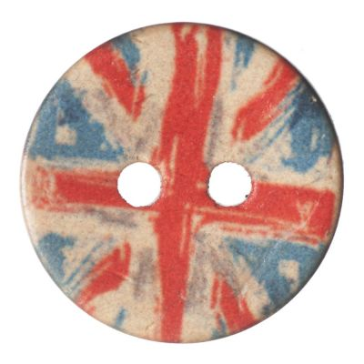 Round Coconut Shell Button - Union Jack - 18mm / 28L