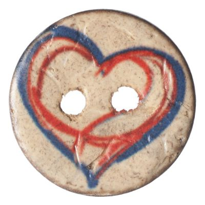Round Coconut Shell Button - Drawn Heart - 15mm / 24L