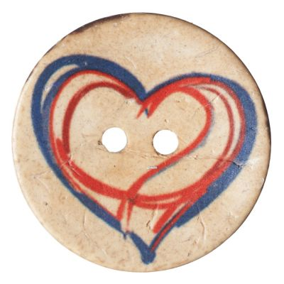 Round Coconut Shell Button - Drawn Heart - 25mm / 40L