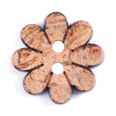 Flower Shaped Coconut Shell Button - Natural - 16mm / 26L
