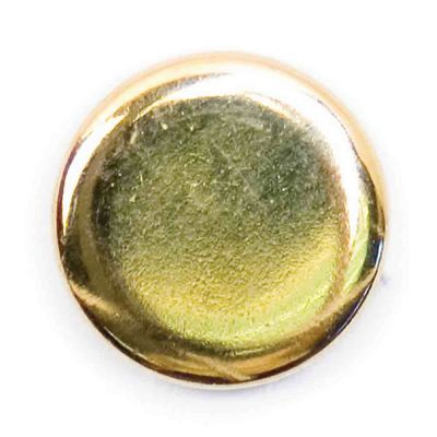 Polished Metal Round Shank Button Gold Coloured 13mm
