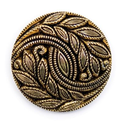 Embossed Leaf Design Metal Round Shank Button Gold Coloured 28mm
