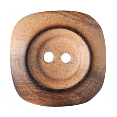 Square Wooden Smooth 2 Hole Button 23mm