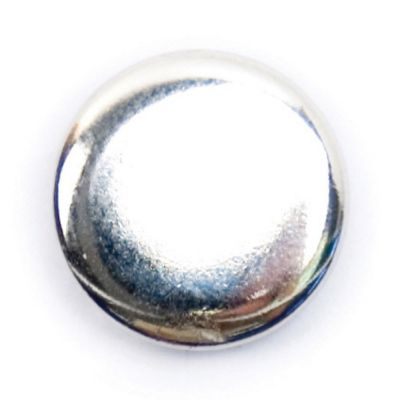 Polished Metal Round Shank Button Silver Coloured 13mm