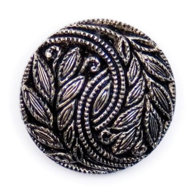 Embossed Leaf Design Metal Round Shank Button Silver Coloured 20mm