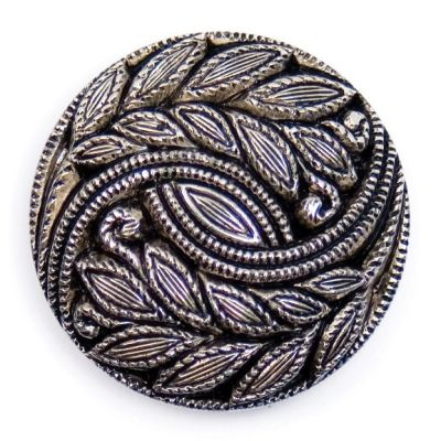 Embossed Leaf Design Metal Round Shank Button Silver Coloured 28mm