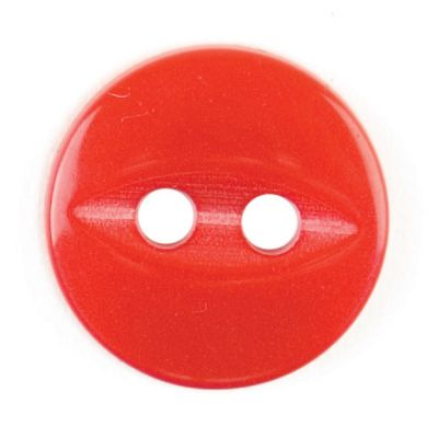 Round Fish Eye Button 2 Hole - Red - 11mm / 18L