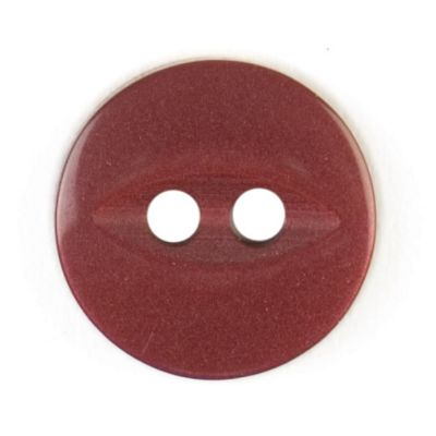 Round Fish Eye Button 2 Hole - Burgundy - 11mm / 18L