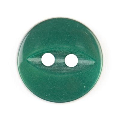 Round Fish Eye Button 2 Hole - Dark Green - 14mm / 22L