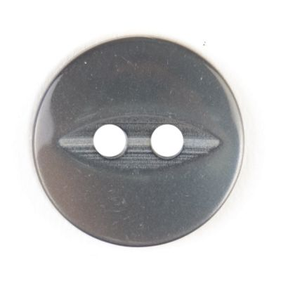 Round Fish Eye Button 2 Hole - Grey - 14mm / 22L