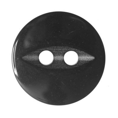 Round Fish Eye Button 2 Hole - Black - 14mm / 22L
