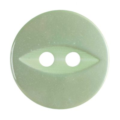 Round Fish Eye Button 2 Hole - Light Green - 14mm / 22L