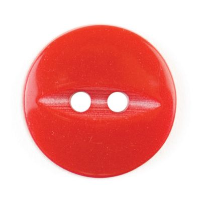 Round Fish Eye Button 2 Hole - Red - 16mm / 26L