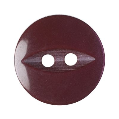 Round Fish Eye Button 2 Hole - Burgundy - 16mm / 26L