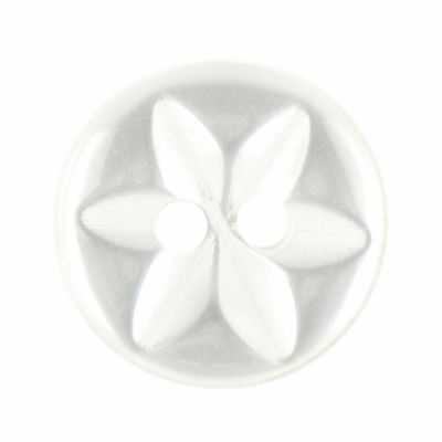 Round Polyester 2 Hole Star Flower Button - White - 11mm / 18L