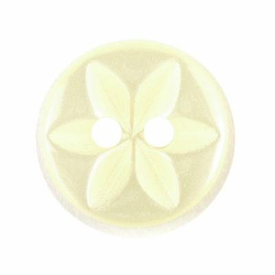 Round Polyester 2 Hole Star Flower Button - Lemon - 11mm / 18L