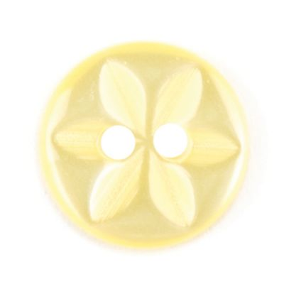 Round Polyester 2 Hole Star Flower Button - Yellow - 11mm / 18L