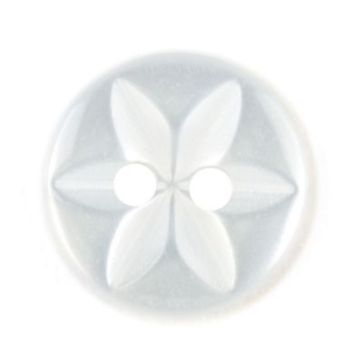 Round Polyester 2 Hole Star Flower Button - Light Blue - 11mm / 18L