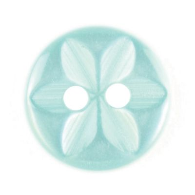 Round Polyester 2 Hole Star Flower Button - Light Green - 11mm / 18L