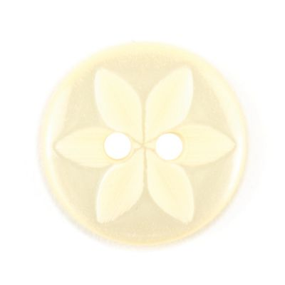 Round Polyester 2 Hole Star Flower Button - Lemon - 14mm / 22L