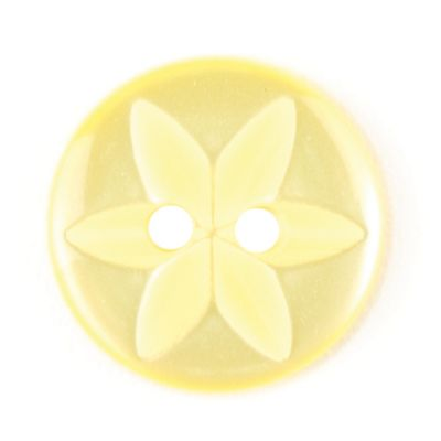 Round Pearlised Yellow Flower Button 2 Hole 14mm