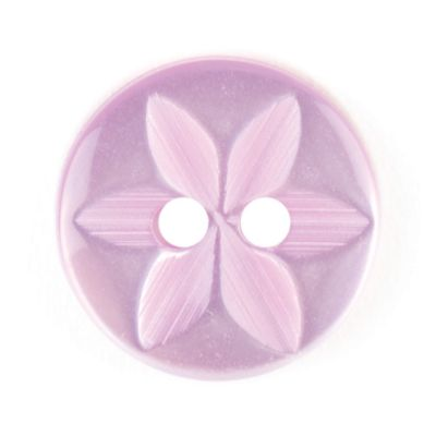 Round Polyester 2 Hole Star Flower Button - Lilac - 14mm / 22L