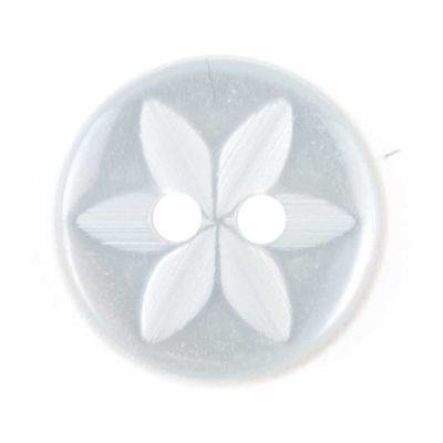 Round Pearlised Light Blue Flower Button 2 Hole 14mm