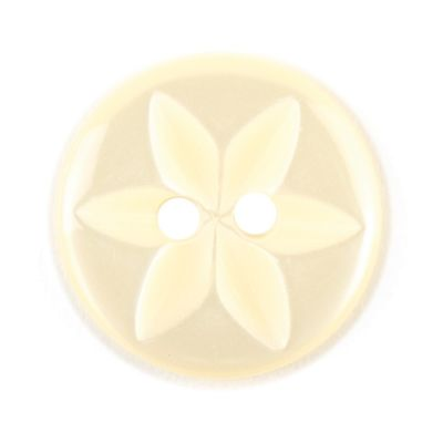 Round Polyester 2 Hole Star Flower Button - Lemon - 16mm / 26L