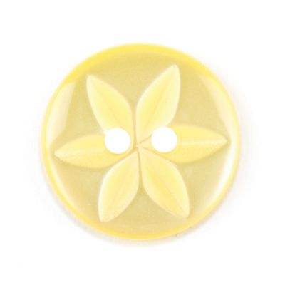 Round Polyester 2 Hole Star Flower Button - Yellow - 16mm / 26L