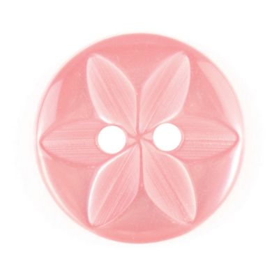 Round Pearlised Pink Flower Button 2 Hole 16mm