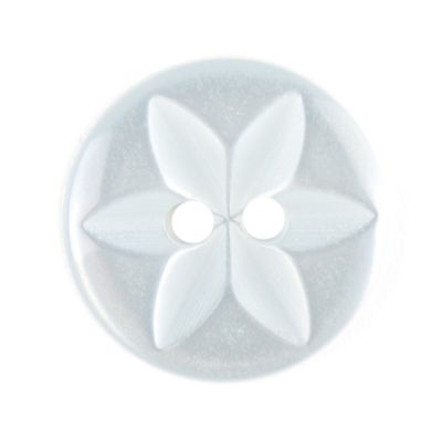 Round Polyester 2 Hole Star Flower Button - Light Blue - 16mm / 26L