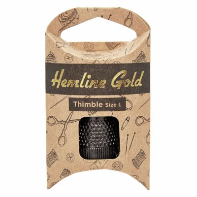 Hemline Gold Premium Black Thimble - Large