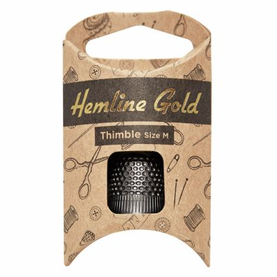 Hemline Gold Premium Black Thimble - Medium
