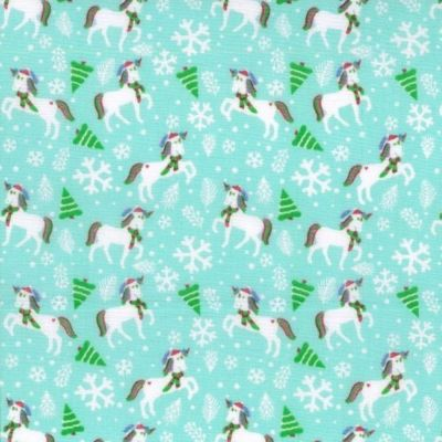 Polycotton - Festive Unicorns Aqua