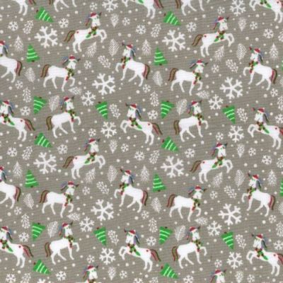 Polycotton - Festive Unicorns Silver