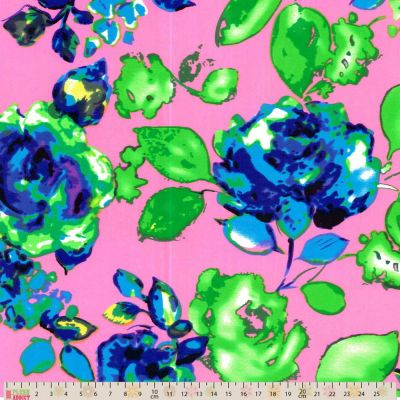 Stretch Sateen - Floral On Hot Pink