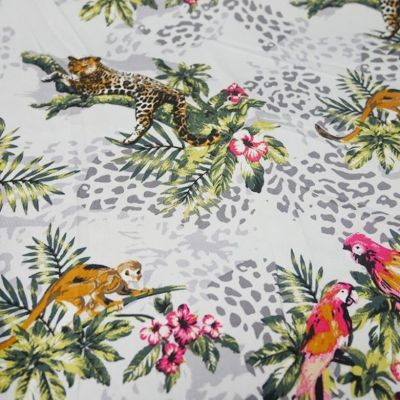 Stretch Sateen - Tropical Jungle