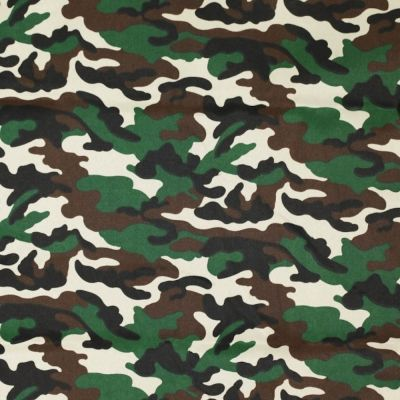 Camouflage Canvas Fabric - Green & Brown