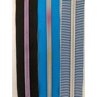 Remnant -3 x Metal Look Continuous Nylon Zip #5 Weight - Light Gold - No Pull - 3 different colours and lengths
