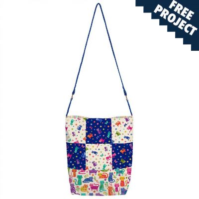 Makower: Katies Cats Every Day Patchwork Bag Free Project: Instant Download
