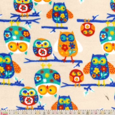 Remnant - Cuddle Fleece - Owls On Beige - 39 x 150cm