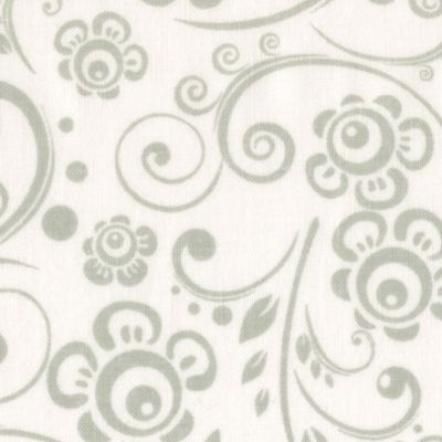 Grey White Scroll Tone On Tone Extra Wide Backing Fabric