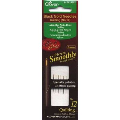 Clover Black Gold Needles: Quilting: No 12, Pack of 6