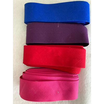 Remnant -Light Stretch Cotton Bias Binding Tape 18mm Wide - 4 different colours - 3m Lengths - Total 12m