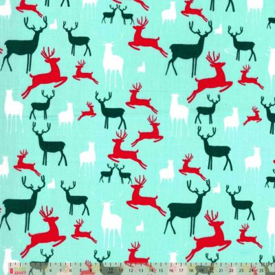 Polycotton - Reindeer On Aqua