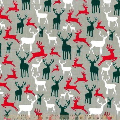 Polycotton - Reindeer On Silver