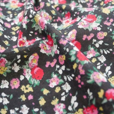 Cotton Lawn - Delicate Floral On Black